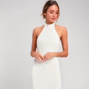 Slice of Joy White Halter Maxi Dress